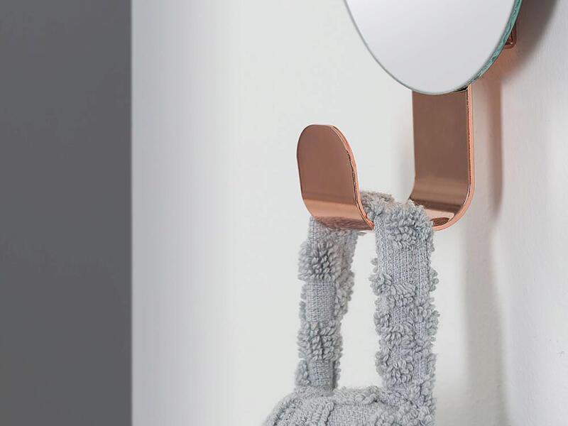 Sealskin Brix crochet porte-serviette avec miroir 6cm cuivre