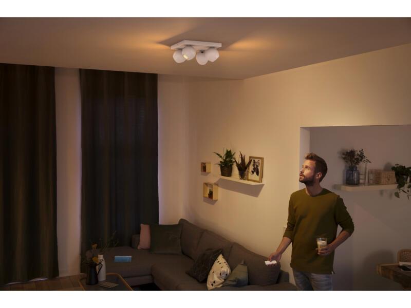 Philips Hue Buckram LED plafondspot GU10 4x5,5 wit + dimmer