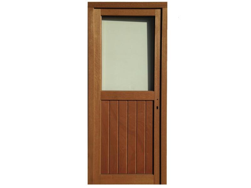 Buitendeur links halfglas 217x94 cm hout