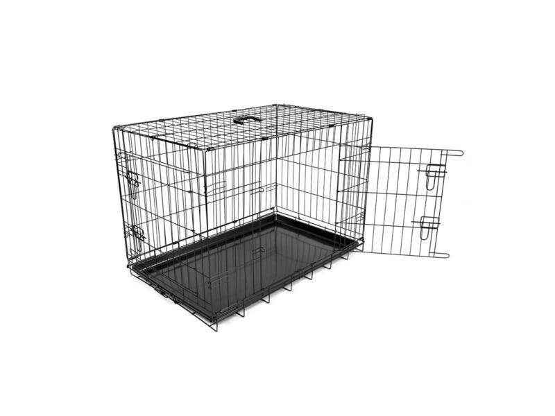Cage pour chien 2 portes 123x77x83 cm noir