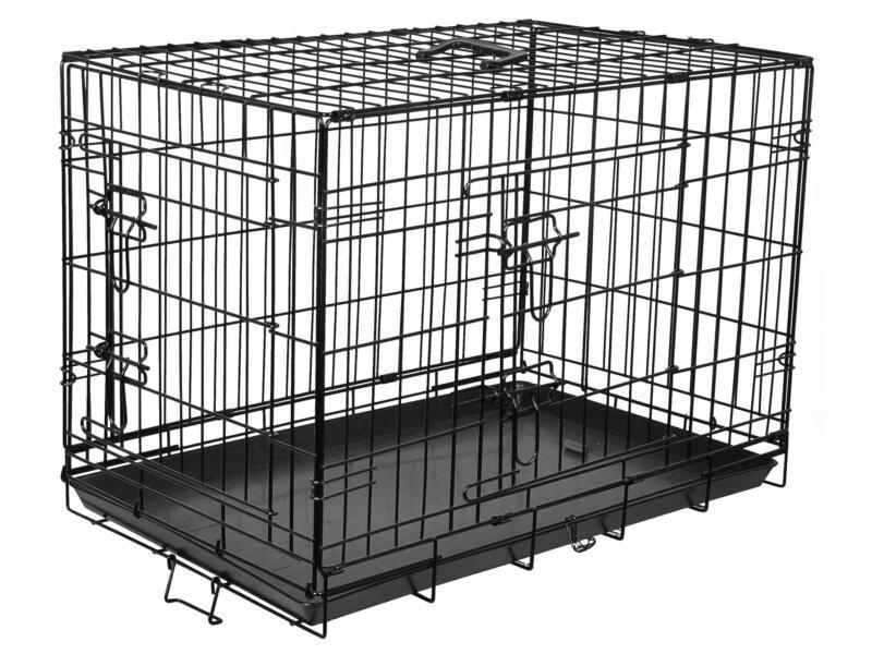 Flamingo Cage pour chien 2 portes 63x43x49 cm noir