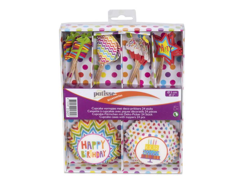 Caissette à cupcake 5cm party 24 pièces + piques décoratifs
