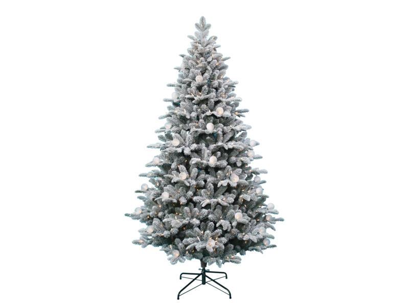 Calgary witte kerstboom met versiering en verlichting 228cm