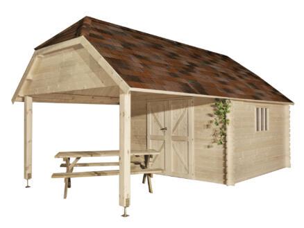 Gardenas Cardiff XL tuinhuis 355x355x341 cm hout + uitbreiding
