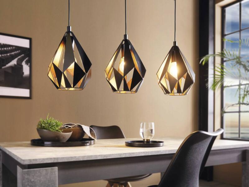 Eglo Carlton 1 hanglamp E27 max. 3x60 W zwart/koper