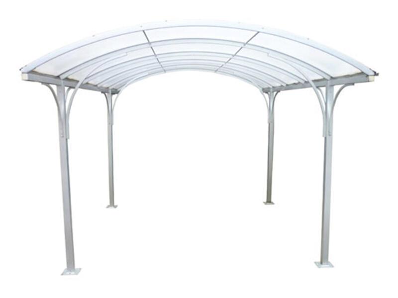 Carport 400x400 cm metaal opaal/wit