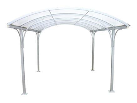Carport 400x500 cm transparent/métal blanc