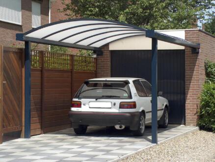 Carport aanbouw kops 400x700 cm metaal helder/antraciet