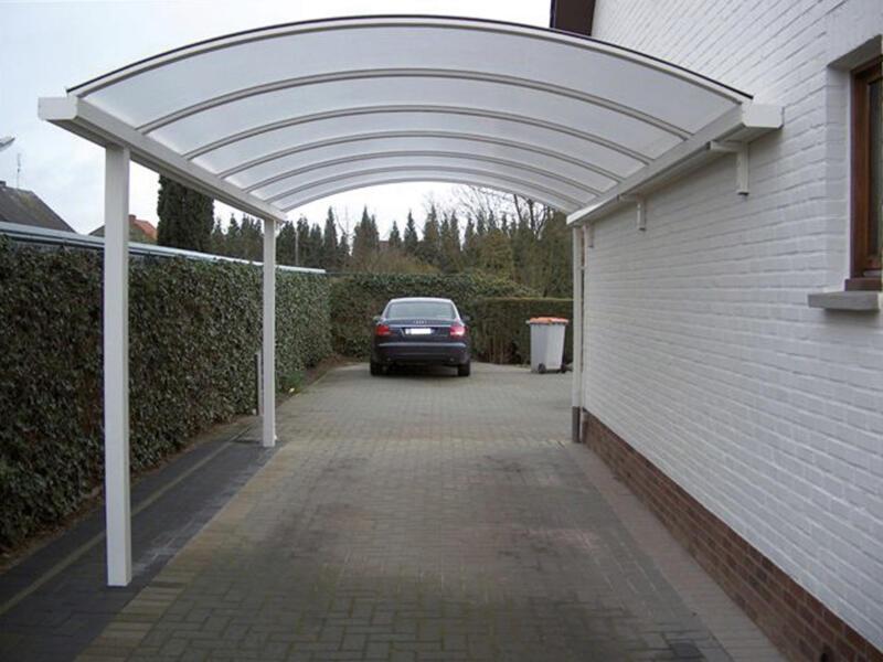 Carport adossé 400x1000 cm opalin/métal blanc