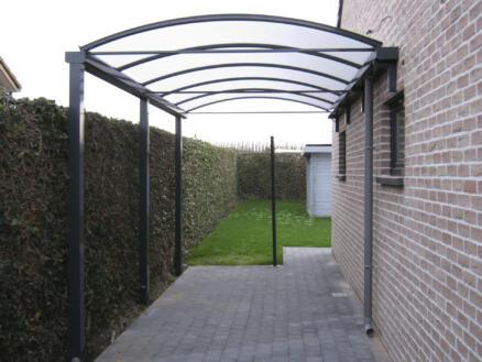 Carport adossé 400x700 cm opalin/métal anthracite