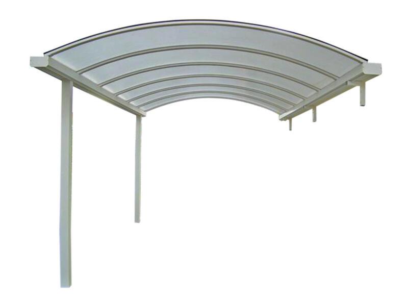 Carport adossé 400x700 cm transparent/métal blanc