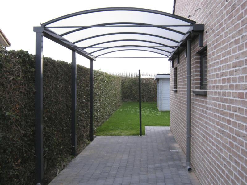 Carport adossé 400x800 cm opalin/métal anthracite