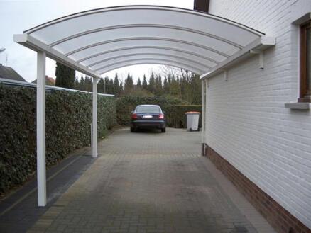 Carport adossé 400x800 cm opalin/métal blanc