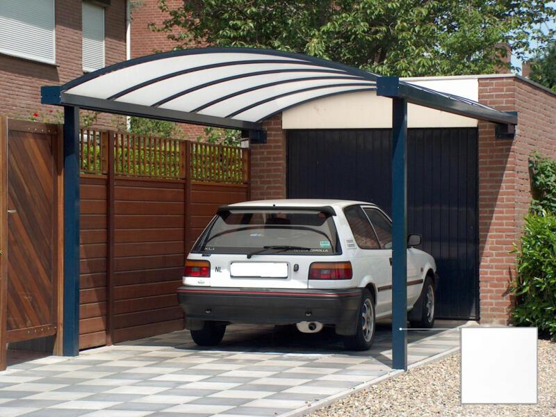 Carport adossé en appui frontal 400x1000 cm opalin/métal blanc