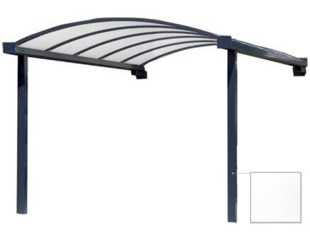 Carport adossé en appui frontal 400x400 cm transparent/métal blanc