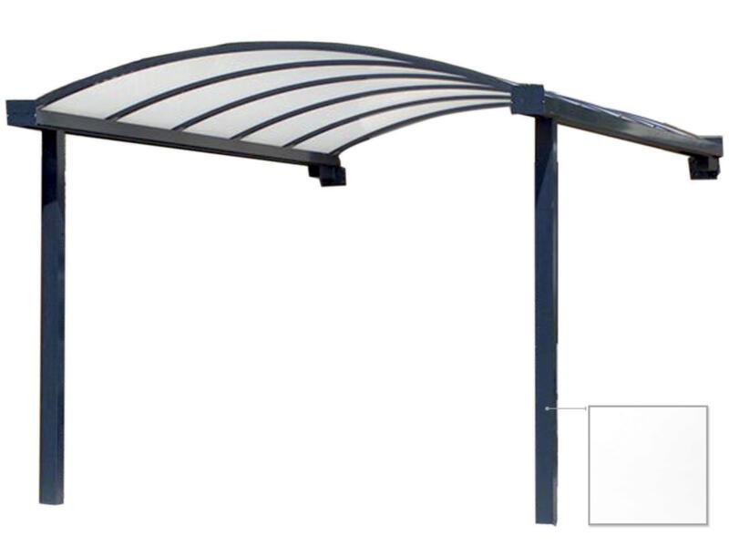 Carport adossé en appui frontal 400x700 cm opalin/métal blanc
