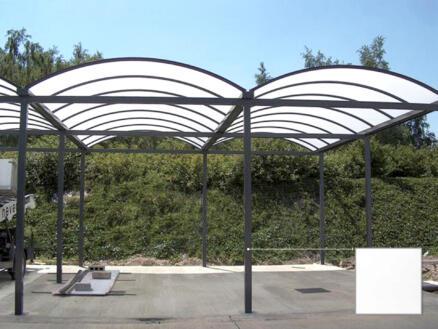 Carport double 500x700 cm transparent/métal blanc