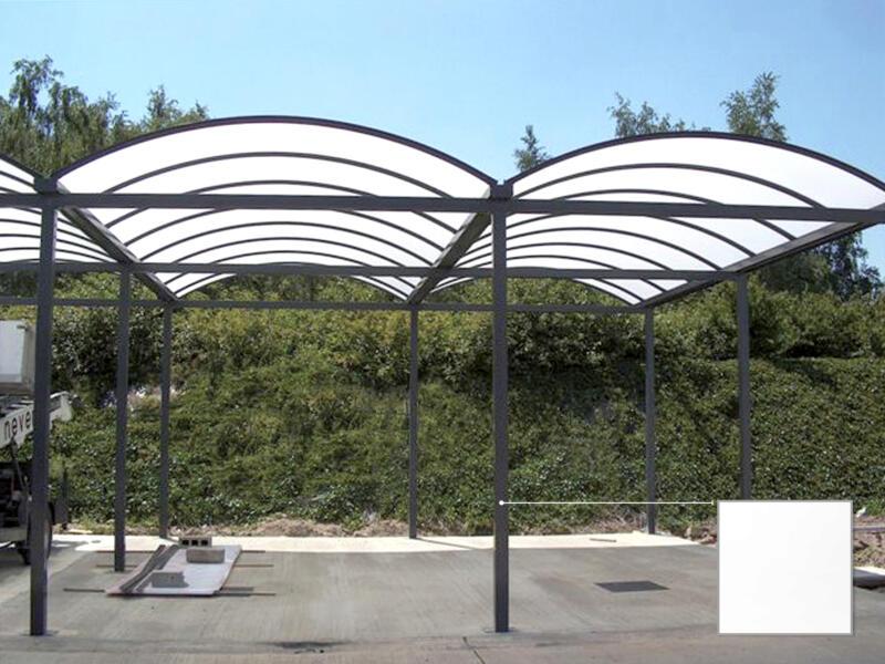 Carport double 700x700 cm transparent/métal blanc