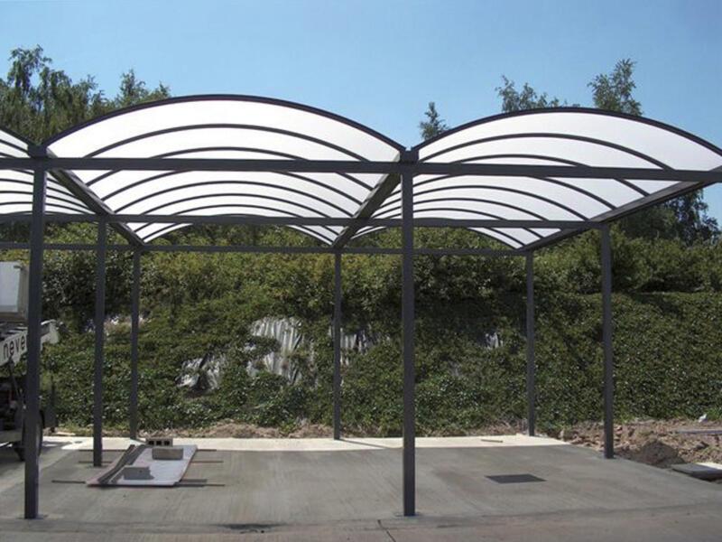 Carport double 700x800 cm opalin/métal anthracite