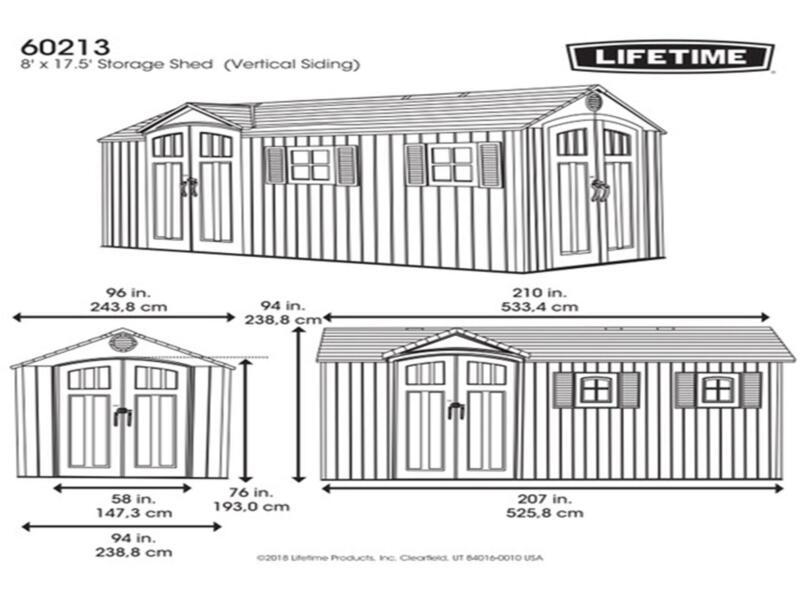Lifetime Castle tuinhuis 533,4x243,8x238,8 cm kunststof lichtgrijs