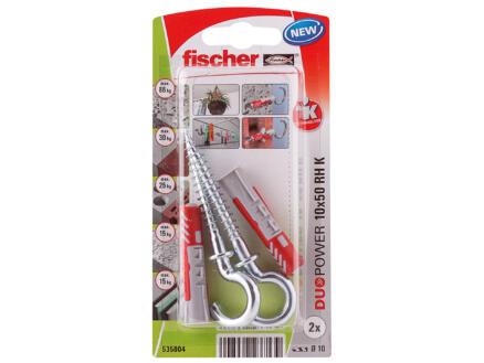 Fischer Cheville avec vis à crochet rond 10x50 mm 2 pièces