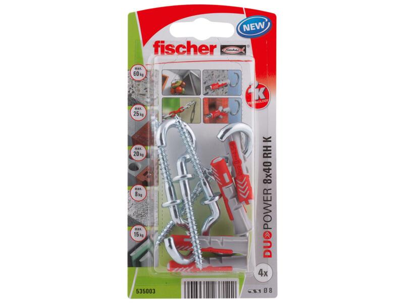 Fischer Cheville avec vis à crochet rond 8x40 mm 4 pièces