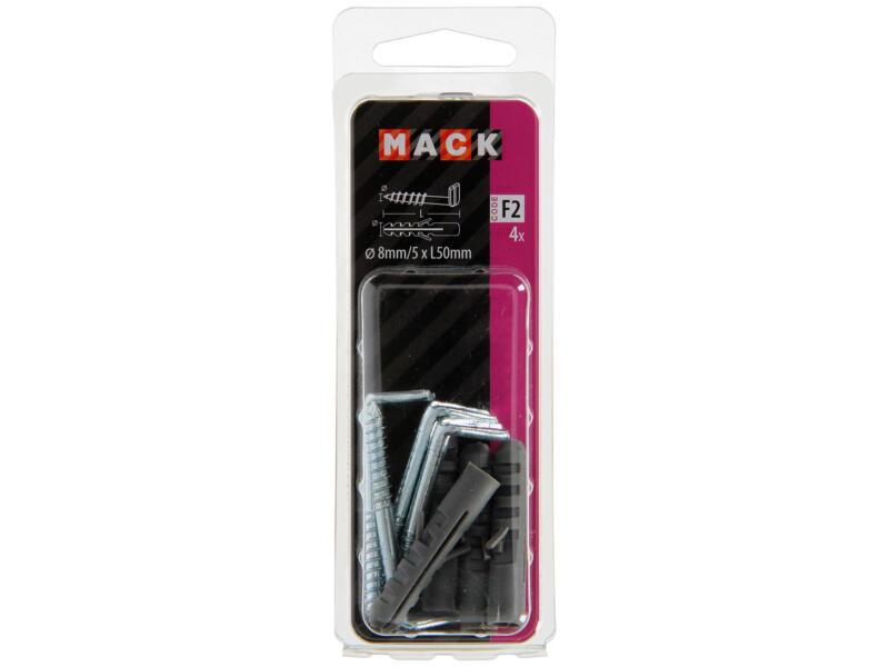 Mack Chevilles PE à gonds 8mm 5x50 mm 4 pièces