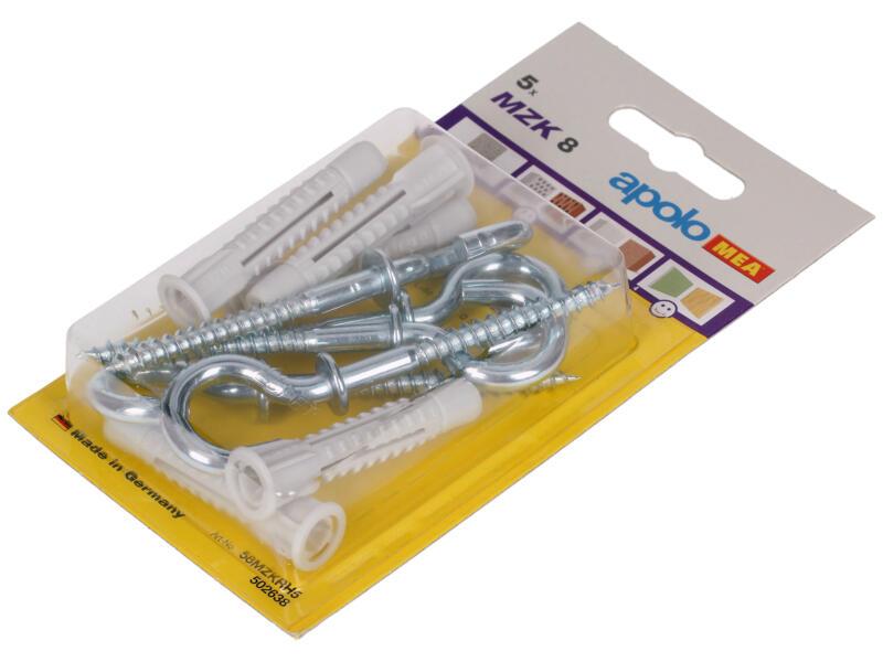 Celo Chevilles universelles avec crochet MZK8 8mm 5 pièces