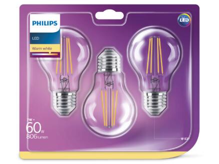 Philips Classic ampoule LED poire filament E27 7W 3 pièces