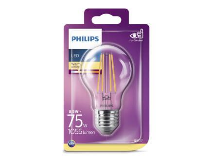 Philips Classic ampoule LED poire filament E27 8W