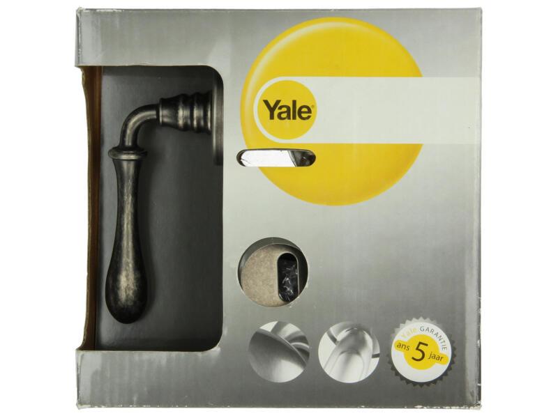 Yale Clea BB deurklinkset op rozet 49mm oud zilver