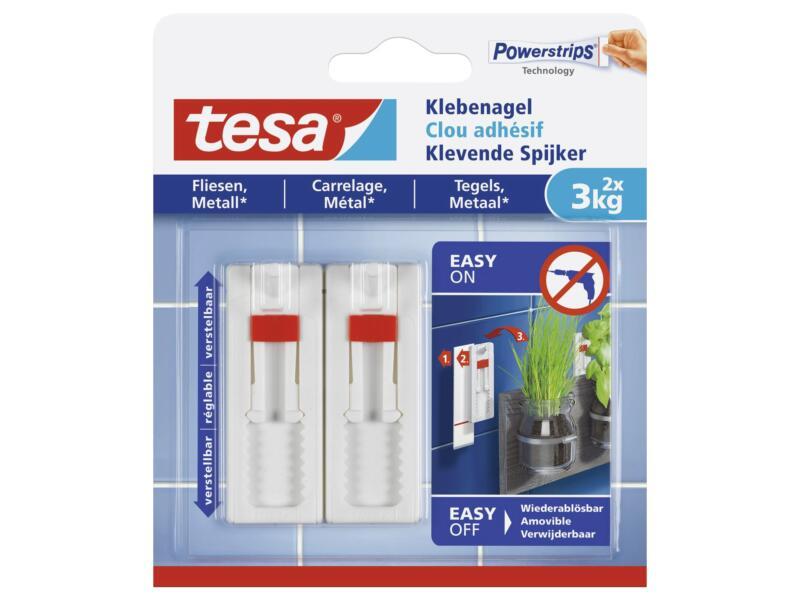 Tesa Clous adhésifs réglables pour carrelage & métal 3kg 2 pièces