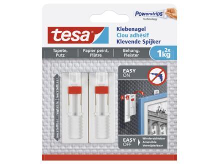 Tesa Clous adhésifs réglables pour papier peint & plâtre 1kg 2 pièces