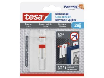 Tesa Clous adhésifs réglables pour papier peint & plâtre 2kg 2 pièces