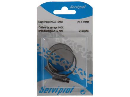 Collier de serrage inox 12mm 23x35 mm 2 pièces
