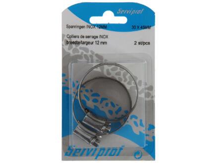 Collier de serrage inox 12mm 30x45 mm 2 pièces