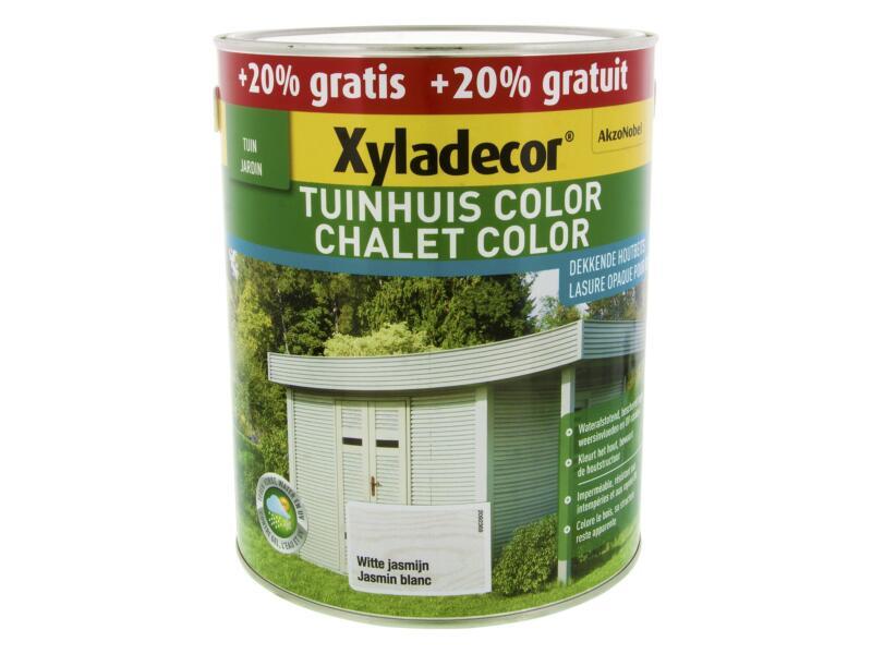 Xyladecor Color houtbeits tuinhuis 2,5l + 0,5l witte jasmijn