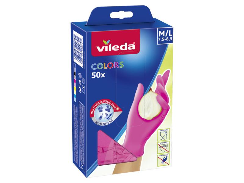 Vileda Colors wegwerphandschoenen M/L nitril 50 stuks