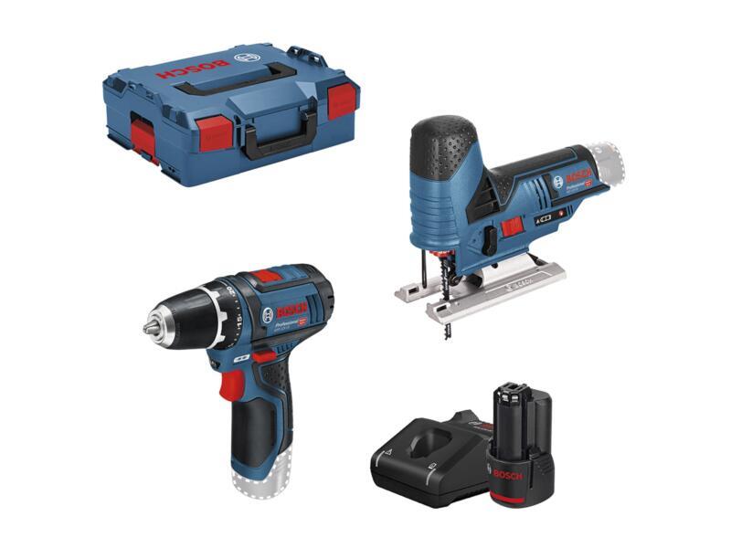 Bosch Professional Combipack accu toolkit 12V GSR 12V-15 accu schroefboormachine 12V Li-Ion en GST 12V-70 accu decoupeerzaag 12V Li-Ion + 2 accu's + lader