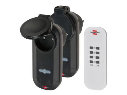 Brennenstuhl Comfort-Line RC CE1 0201 2 prises 1000W avec télécommande sans fil noir
