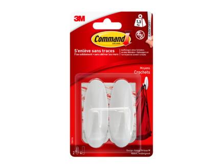 3M Command 17081 crochet design 7,9cm 1,3kg  blanc 2 pièces