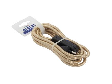 Chacon Cordon électrique en tissu avec fiche et interrupteur 2m or