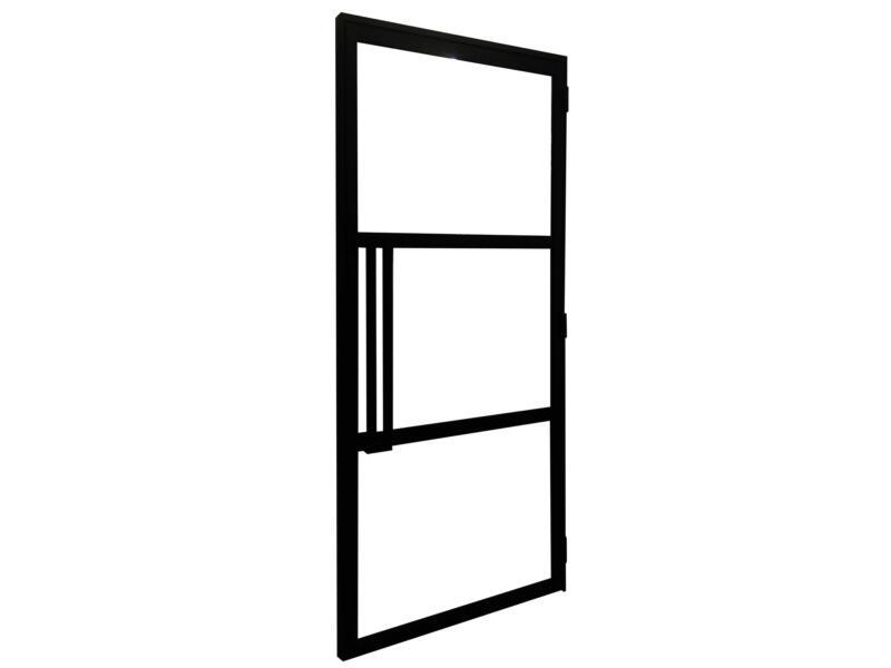 Solid Cosmos deur steel look 3-glasverdeling 204x88 cm rechts zwart