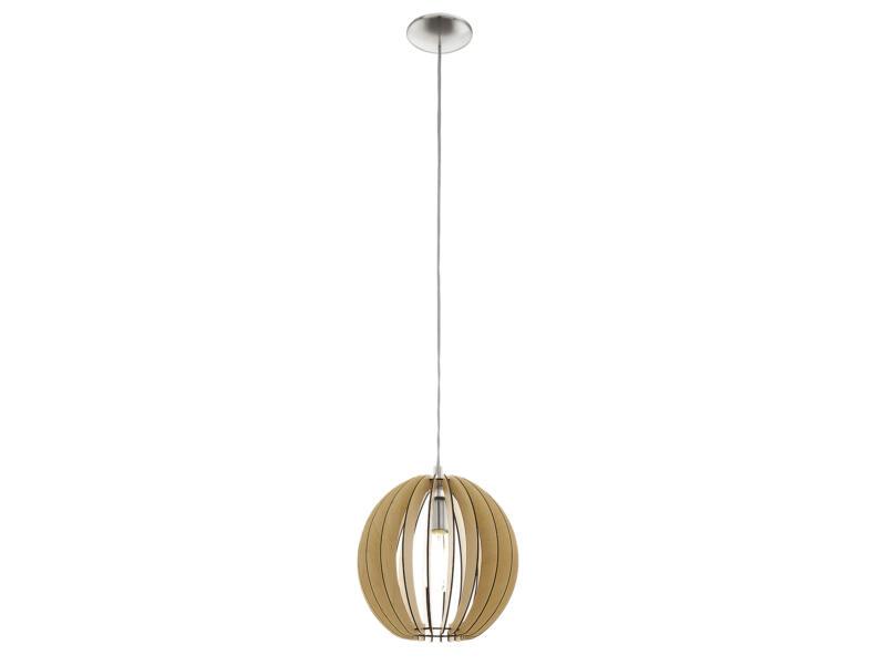 Eglo Cossano hanglamp E27 max. 60W 30cm nikkel mat hout