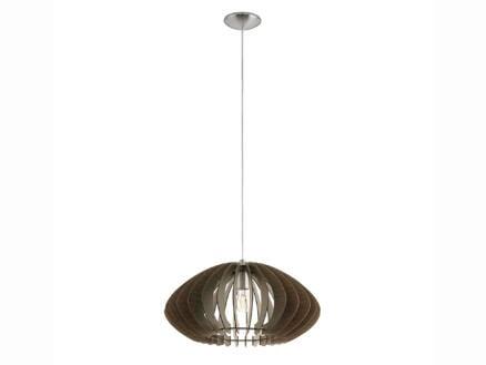 Eglo Cossano hanglamp E27 max. 60W 50cm mat nikkel donkerbruin hout