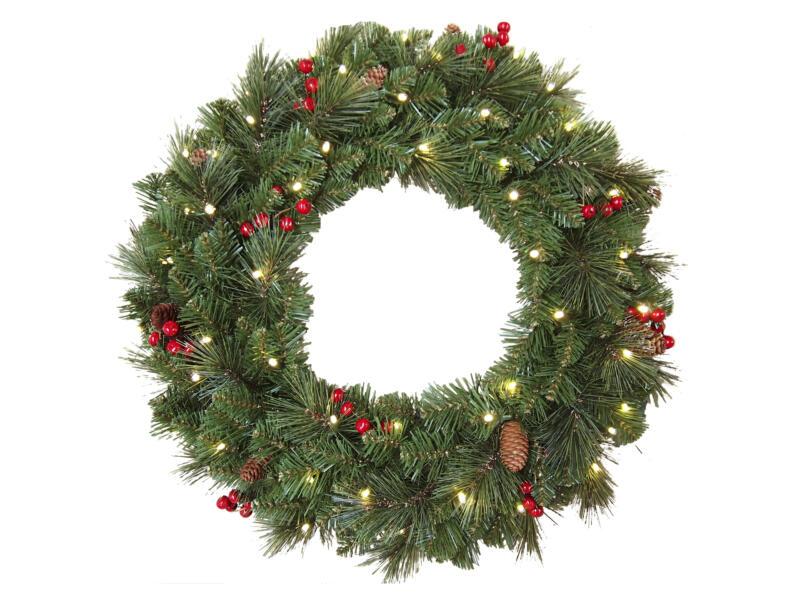 Couronne de Noël décorée & illuminée 61cm