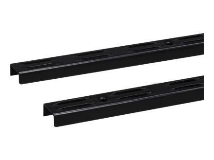 Crémaillère double 200cm noir 2 pièces