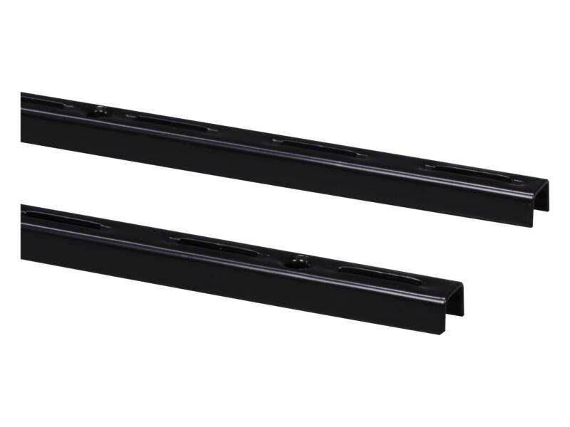 Crémaillère simple 200cm noir 2 pièces