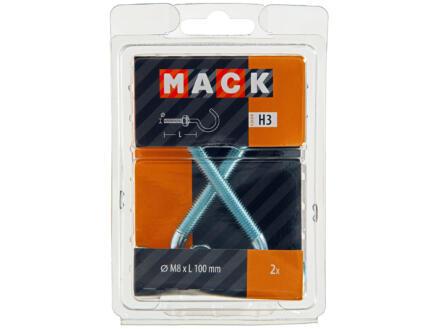 Mack Crochets à vis avec écrou 100x8 mm zingué 2 pièces