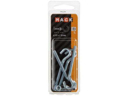 Mack Crochets d'armoire avec écrou 50x5 mm zingué 4 pièces